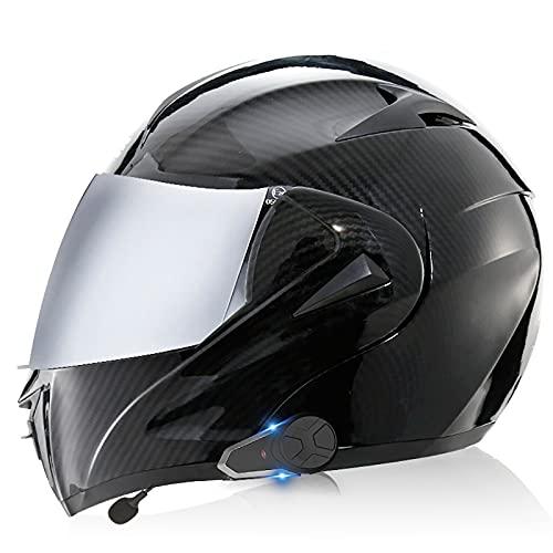 Casco Bluetooth para motocicleta, Casco Bluetooth modular tipo abatible DOT/ECE, Intercomunicador/conversación manos libres / MP3 / FM/Lente plateada Casco para motocicletawang 10,XS=53-54CM