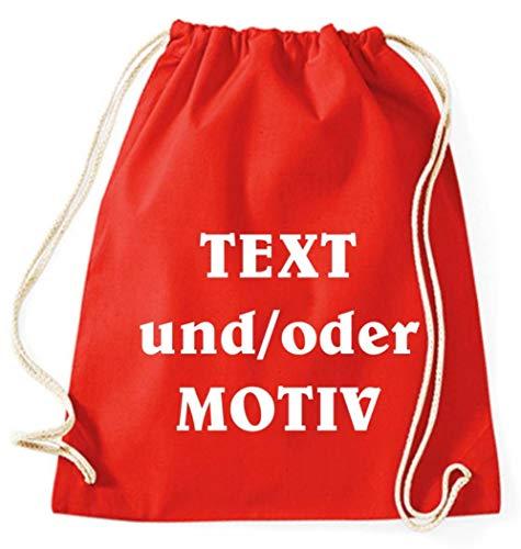 Druckreich Turnbeutel Gymsac Baumwolle mit Ihrem Wunschdruck/Fb. Rot
