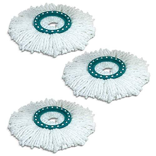Beauneo Cabezales de Repuesto de Fregona de AlgodóN Giratoria de 360 Grados, PaaO de Limpieza para Fregona Leifheit, Piezas de Repuesto 3 Uds