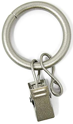 """Urbanest Solid Metal Window Drapery Curtain Panel Ring with Eyelet, 1"""" Inner Diameter, Fits Up to 3/4"""" Rod - Set of 40, Antique Silver/Pewter"""