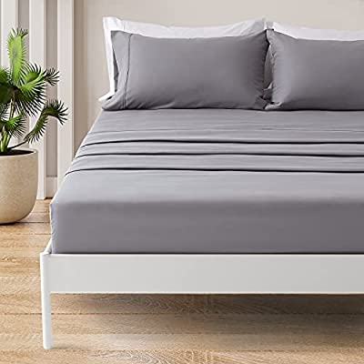 SONIVE Twin Bed Sheets Set Gull Grey 1800 Super Soft Brushed Microfiber 3 Pieces Bedding Twin Sheet Set with Fitted Sheet, Deep Pockets Easy Care