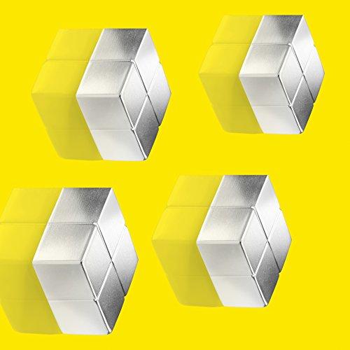 SIGEL GL705 SuperDym-Magnete silber, massives Alu, 4er-Set, für Glas-Magnettafeln, 2x2x1 cm - weitere Größen/Farben