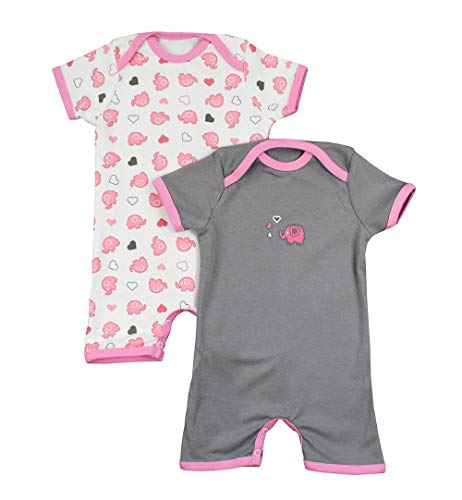 Pelele de bebé de 100% algodón para el verano para niños y niñas con motivos de impresión en un paquete doble. Rosa Elefanten Talla:68