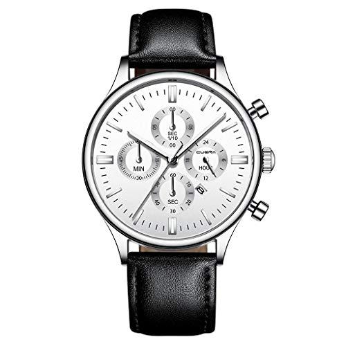 Fghyh Armbanduhr Fashion Sport Herren Edelstahlgehäuse Lederband Quarz Analog Armbanduhr(M)