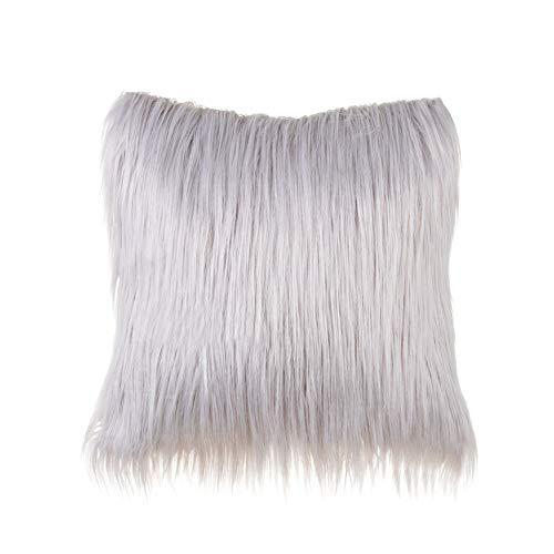 Manda Stell - Federa per cuscino in morbido peluche, realizzata in pelliccia sintetica, per la casa, la camera da letto, il divano e il divano, Grigio, 45 x 45 Centimeters