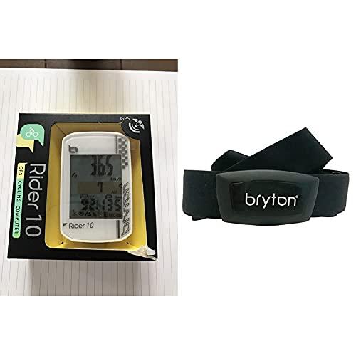 Bryton Rider 10 Computer GPS, Bianco, Taglia Unica & HT03, Computer GPS Unisex – Adulto, Nero, M
