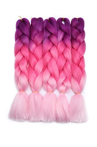 Real Fashion 5 Stück Flecht-Extensions, Kunsthaar, Ombre, Kanekalon-Flecht, hitzebeständige Faser, gehäkelt, 61 cm lang – Lila bis Pfirsichrosa zu Pink