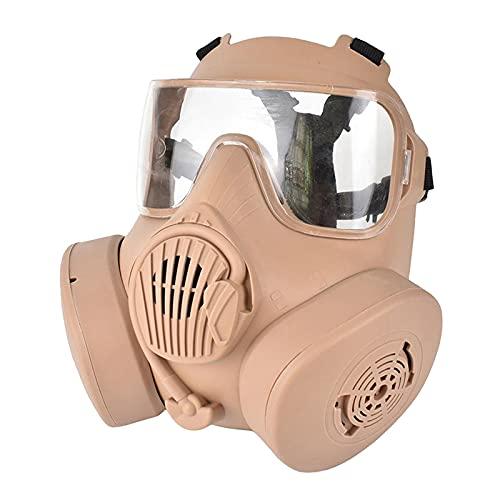 freneci mscara tctica de cara completa con proteccin ocular resistente a impactos para Halloween CS juego Paintball u otras - Beige_Clear lente