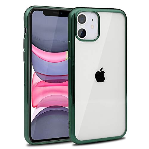 Funda para iPhone 11, Case Flores Carcasa TPU Protectora Watercolour Clear Phone Backcover Ultra Delgado Suave Silicone Cover Floral en relieve Cubrir, Verde
