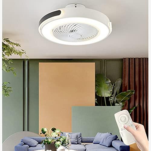 Ventilador De Techo Silencioso Con Control Remoto, Luz LED Moderna, Ventilador Invisible Con Iluminación, Control Remoto, Luz De Techo Con Ventilador Redondo Temporizado, Ajustable En 3 Velocidades