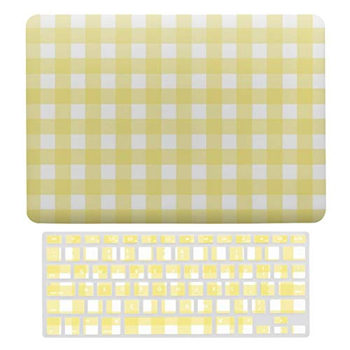 For MacBook New Pro 13 Touch 13 Inch Case A1706、A1989、 A2159 Hard Shell Cover for MacBook New Pro 13 Touch Case & Keyboard Cover, Pale Yellow And White Gingham Laptop Protective Shell Set