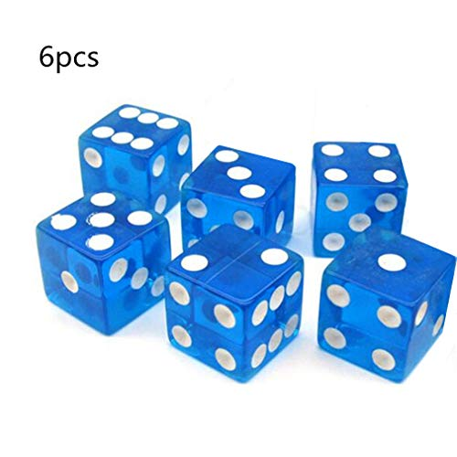 Blu 6 Pezzi Dadi a Sei Facce 16 Millimetri Trasparente Piazza D6 Dadi Spot Cubo di Perline per GDR di D&D Giocattolo del Gioco di Carte da Tavolo di S