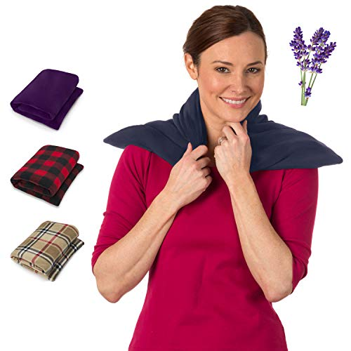 Heating Pad for Neck and Shoulders - Lavender Scented Bean Bag Heating Vest - Upper and Lower Back Aromatherapy - Heat Pad for Body Pain Relief - Herbal Aroma Therapy Spa by Sunnybay (Navy Blue)