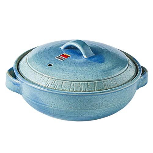 Cazuela de gres de cocina Cazuela de loza Olla caliente japonesa, Cazuela redonda de cerámica con tapa, Olla para estofado, Cazuela, Olla de barro, Olla de barro, Utensilios de cocina de cerámica,