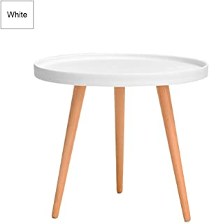 Small Round Plastic Side Table with 3 Leg Beech Wood Stand Modern Tray Table Dining Coffee Snack Table for Living Room Bedroom Beside Bed Sofa Desk Chair in White Gray Black End Table