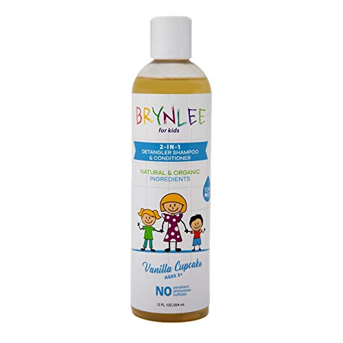 Brynlee All Natural & Organic Kids 2-in-1 Shampoo & Conditioner Vanilla Cupcake Scented, Made in USA