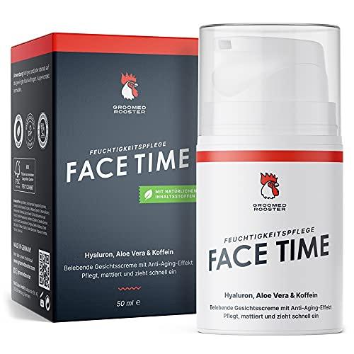 Natürliche Gesichtscreme für Männer \'Face Time\' Aktivierende Feuchtigkeitscreme gegen trockene Haut & Falten im Gesicht mit Hyaluron, 50ml, von Groomed Rooster – MADE IN GERMANY