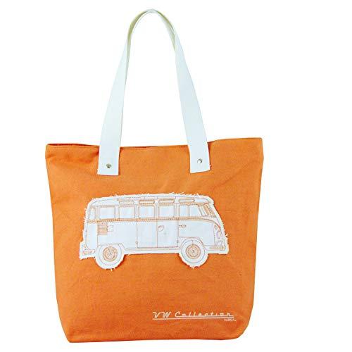 BRISA VW Collection - Volkswagen Lässige Canvas-Tasche, Einkaufs-Tasche-Tüte Strand-Tasche (Robust/VW T1 Bulli Bus Motiv/Orange)