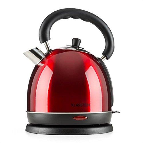 Klarstein Teatime - Théière électrique, Bouilloire électrique, Design théière des années 50, 1850-2200 W de puissance, 1,8L de volume, Poignée cool touch, Acier inoxydable, Voyant LED, Rouge