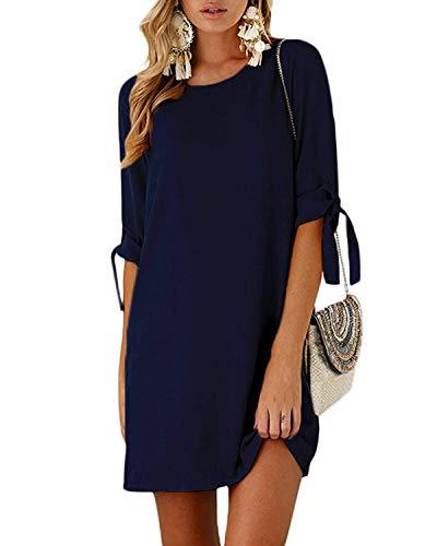 Kidsform Sommerkleid Damen Casual Langes T-Shirt Kleid Lose Tunika Kurzarm Rundhals Minikleid mit Bowknot Ärmeln, XL=EU42,  Dunkelblau