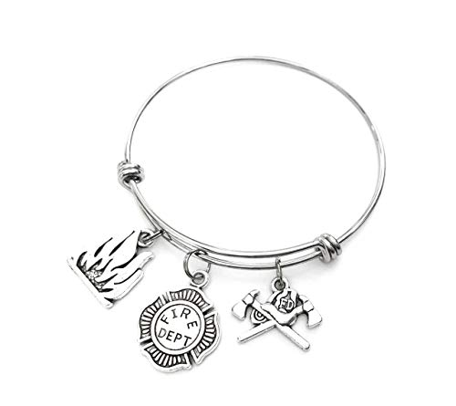Firefighter theme charm bracelet. Includes Fire Flames, Fire Department Emblem, and Fire Helmet and Axes Charms. Firefighter Gift. First Responder Keepsake. Fire Fighter Expandable Bangle