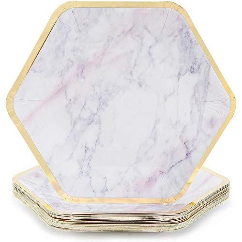 Marble Paper Party Plates (24 Count), Gold Foil Border, 23 x 20 cm