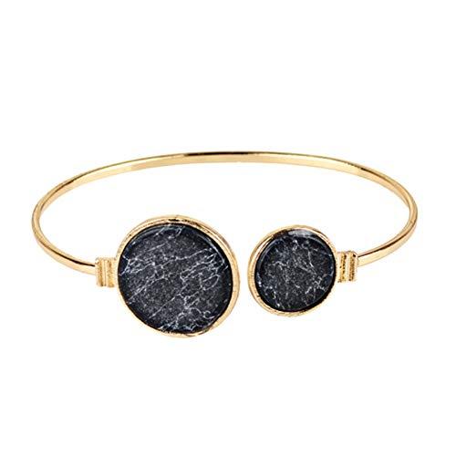 Fnito Armband runde nachgemachte Marmorarmreifarmreifen kreisen unregelmäßigen weißen schwarzen Steinoffenen Armbandfrauen-Aussageschmucksachen EIN Geschenk