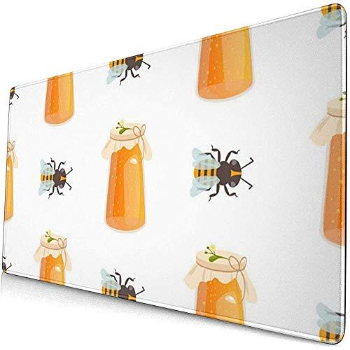 Honing Potje Naadloos Patroon Met Bijenschets (2) Verlengd Gaming Muiskussen, Dikke Grote Computer Toetsenbord Muismat