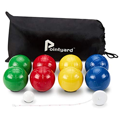 Pointyard 100mm Bocce Ball Set, Regulation Bocci Ball Set with 8 Soft PE Bocce Balls/1 Pallino/Carrying Bag/Measuring Tape - Outdoor Family Bocce Game for Backyard/Lawn/Beach (Red,Blue,Green,Yellow)