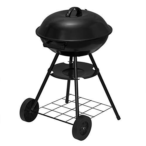 eSituroGriglia a Carbone con Coperchio, Barbecue Rotondo 41,5cm, BBQ Grill a Carbonella Portabile con 2 Ruote per CampeggioPicnic SBBQ0005 (Nero)