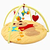 YUEHAPPY Gimnasio Bebe de Actividades Grande con Animales, Amarillo/Marrón Manta de Juegos Imaginarium con Jugar Arco para Niño. Alfombra Bebe Suelo para Gatear, Actividades Bebe