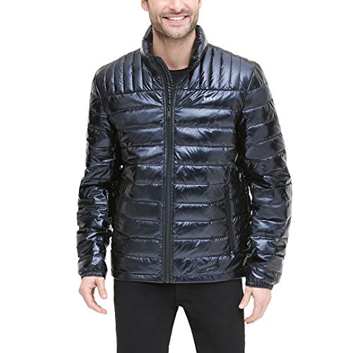 DKNY Men's Water Resistant Ultra Loft Quilted Packable Puffer Jacket, black PEARLIZED, X-Large