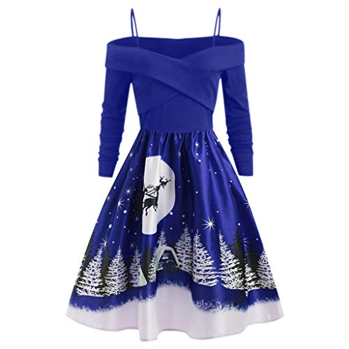 TWIFER Damen Weihnachten Kostüm Langarm Kleid Print Cocktailkleid Large Size Partykleid Schulterfrei Brautkleid(a-Blau,4XL)