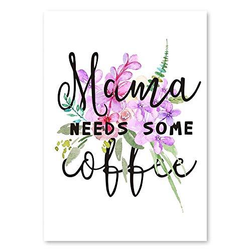 baodanla Moderne minimalistische dekorative Art Kaffeetasse einfache Schrift Poster Familiencafé Dekoration Poster Art Decor60x90cm(Kein Rahmen)