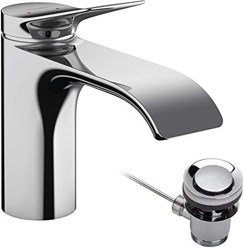 hansgrohe Waschtischarmatur Vivenis, Wasserhahn Bad mit Auslauf Höhe 80 mm, mit Zugstange, Badarmatur wassersparend, Chrom