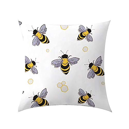 The Beach Stop Birds, Bugs and Butterflies Soft Cushion Covers (Yellow/Grey Bees)