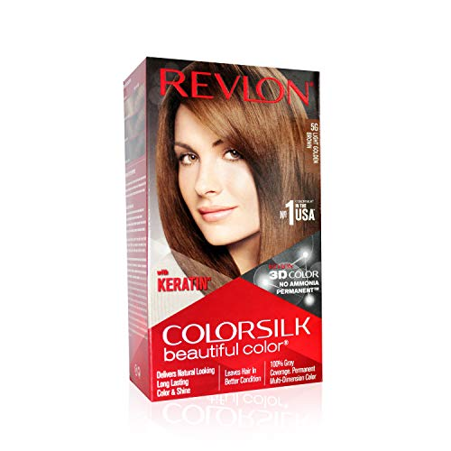 Revlon (Color Silk Hair Color (3D Color Gel Technology) with Keratin), Light Golden Brown 5G,