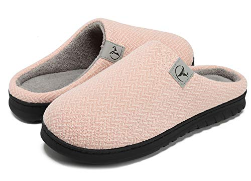 VIFUUR Zapatillas Hombre Mujer de casa Espuma de Memoria de Alta Densidad Cálido Interior Lana al Aire Libre Forro de Felpa Suela Antideslizante Zapatos Rosa Desnudo 42/43