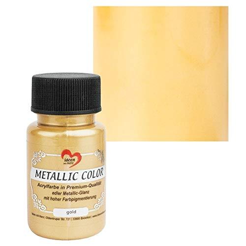 Ideen mit Herz Metallic Color | Metallic-Farbe | hochwertige Acrylfarbe in Premium-Qualität mit edlem Metallic-Glanz und hoher Farbpigmentierung | 50 ml (Gold)