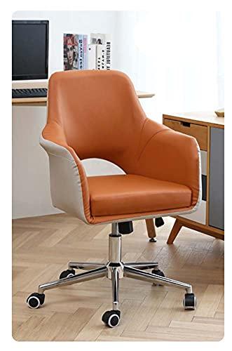 VIVIANSHOP Silla ergonómica de lujo ligera para ordenador, silla de oficina para casa, asiento cómodo, taburete giratorio, silla de estudio, silla de escritorio, silla de oficina naranja