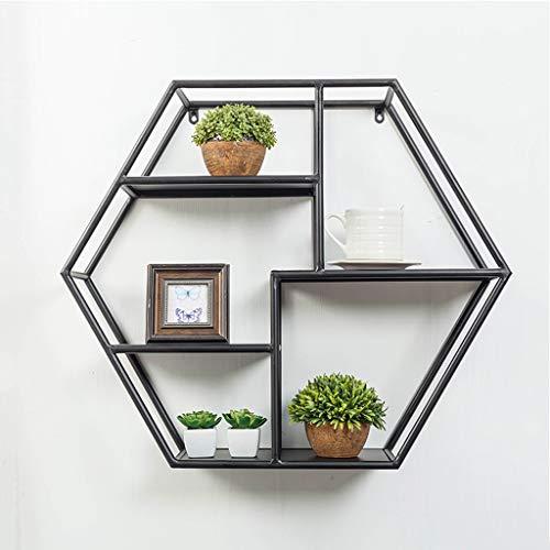 YYk Home Opbergkast, meerlaagse zeshoekige ijzeren slaapkamer-woonkamer-wand-hangende wandrekken voor het ophangen van de muur