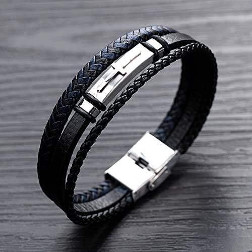 Mens All-Match Multi-Layer Weaving Läder Armband Bältet kan lossas och skära kort för lämplig för den bästa gåvan,Black