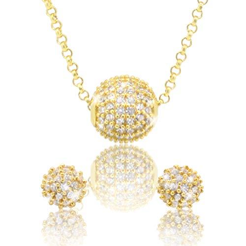 PAVEL´S Damen Schmuckset GOLDEN GRACE 18 Karat Gold plattiert Ohrstecker und Halskette Hochzeit Braut Set mit weißen Zirkonia in AAA Qualität inkl. Schmuckbox und Echtheits-Zertifikat