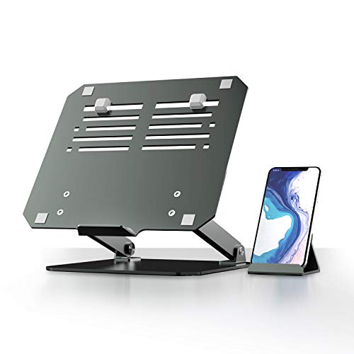 Aluminum Laptop Stand with Phone Holder,Yikola Height Imporoved&Angle Adjustable Laptops Elevator for Desk, Foldable Computer Riser with Anti-Sliding Rabbers Keyboard Keeper Desk Organizer