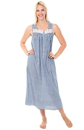 Alexander Del Rossa Womens 100% Cotton Lawn Nightgown, Sleeveless Sleep Dress, Small Navy Blue Gingham (A0586V87SM)