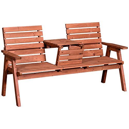 Outsunny Panchina da Esterni in Legno di Abete 2 o 3 Posti, Tavolino Convertibile in Seduta, Impermeabile, 160x70x85cm