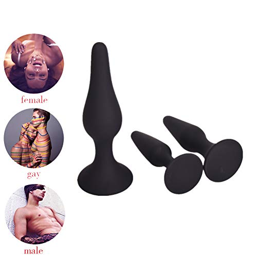 Amal Sexx Toys for Male Female and Beginner AnalesTrainer with Suction Cup-3 Pcs Kit 3 Size- Silicone Bútt Plugs-Amal Plugs-Beginner Starter Set Toys Black By Heatop