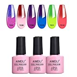 AIMEILI Smalto Semipermente Kit Semipermanente Unghie in Gel UV LED Smalti Colorati Gel per Manicure Soak Off che Cambia Colore con la Temperatura Gel Polish Set 6 x 10 ml - Set Numero 15