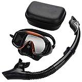Equipo de Snorkel, Equipo Ajustable, Lente de Vidrio Templado Negro para Proteger los Ojos, Respirar fácilmente bajo el Agua
