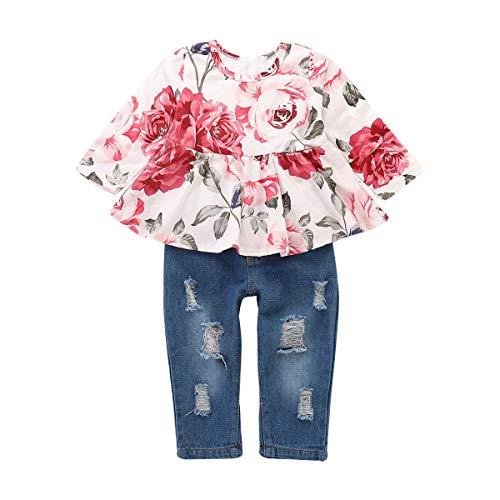 Haokaini 2 Teile/Satz Baby Mädchen Langarm Hosen Outfits Set, Blumendruck Top Shirt + Zerrissene Jeans Hosen (Weiß + Blau,1 Jahre)